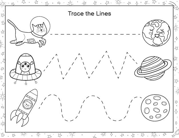 Trek lijnen van schattige astronauten naar de planeten activiteitenpagina kleurplaten voor kinderen handschrift