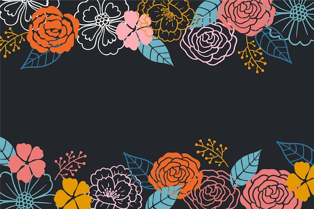 Trek van bloemen op blackboard achtergrond