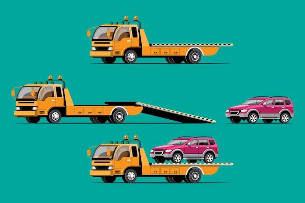 Trekkende auto met autoset