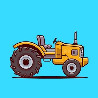 Trekker boerderij cartoon vectorillustratie pictogram. boerderij vervoer pictogram concept geïsoleerde vector. flat cartoon stijl