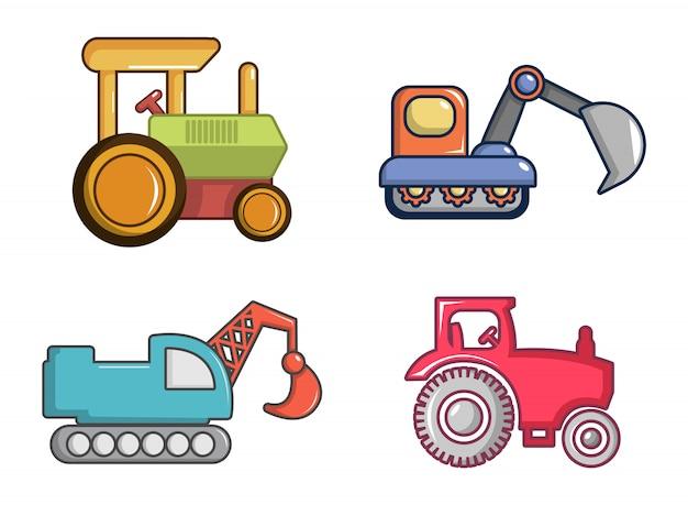 Trekker pictogramserie. beeldverhaalreeks tractor vectorpictogrammen geplaatst geïsoleerd