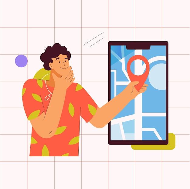 Trekkinglocatie op de aanwijzer van het kaartconcept op het smartphonescherm