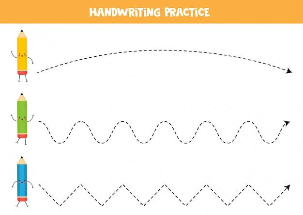 Treklijnen met schattige kawaii potloden. educatief spel.
