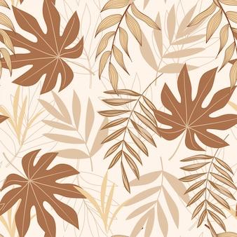 Trend abstract naadloos patroon met tropische bladeren