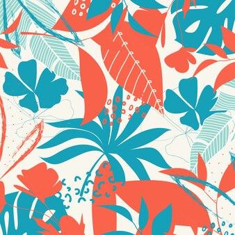 Trend abstracte achtergrond met heldere tropische bladeren en planten