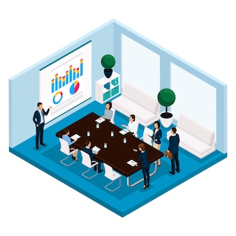 Trend isometrische mensen, een kamer, een officemanager is een vooraanzicht, een groot bureau, onderhandelen, vergadering, bestuur, vergadering, brainstorm, zakenmensen in pakken geïsoleerd