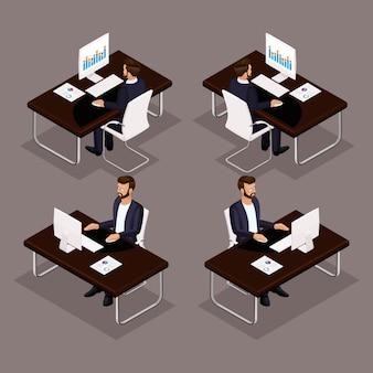 Trend isometrische mensen ingesteld, 3d-zakenman werkt aan zijn bureau op een laptop vooraanzicht, achteraanzicht, bril, stijlvol kapsel hipster, kantoormedewerker man in een pak geïsoleerd