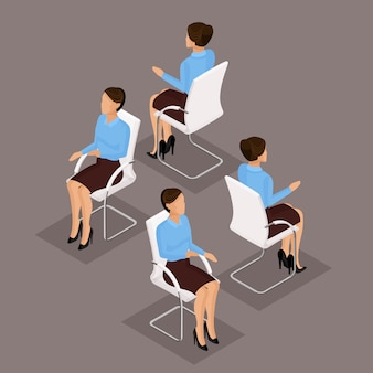 Trend isometrische mensen ingesteld, 3d-zakenvrouw in pak, zittend op een stoel, vooraanzicht en achteraanzicht geïsoleerd. vector illustratie