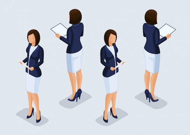Trend isometrische mensen ingesteld, 3d-zakenvrouw in pakken, gebaren van mensen, een vooraanzicht en achteraanzicht geïsoleerd. vector illustratie