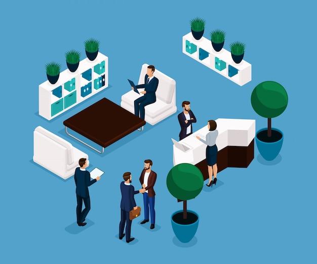 Trend isometrische mensen, receptie achteraanzicht, bedrijfsconcept, vergadering, handdruk, brainstormen, zakenlieden in geïsoleerde pakken. vector illustratie