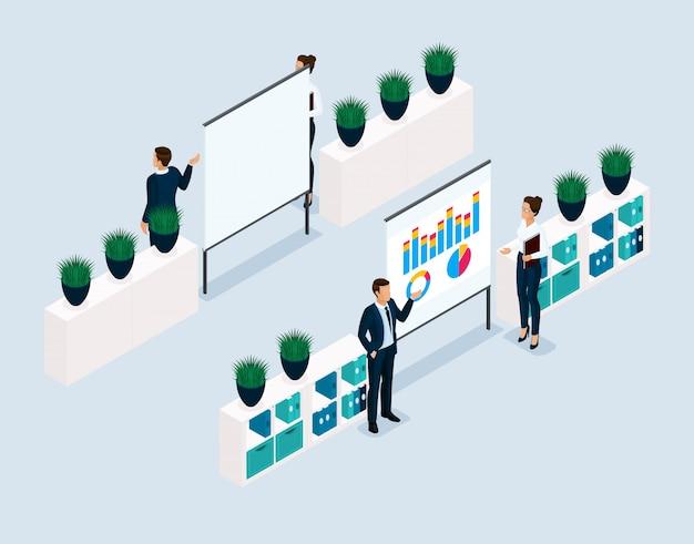 Trend isometrische objecten 3d-mensen ondernemers boord, coachers, training, kantoormedewerkers vooraanzicht achteraanzicht
