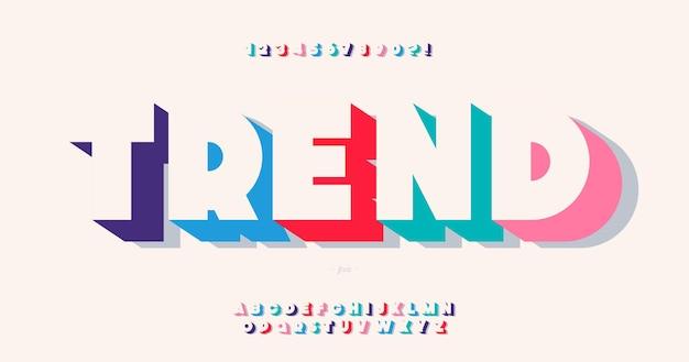 Trend lettertype vetgedrukte stijl trendy typografie voor infographics, bewegende beelden, video