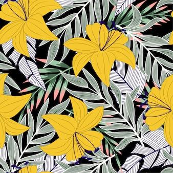 Trend naadloos patroon met kleurrijke tropische bladeren en bloemen op zwart