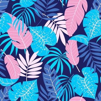 Trend naadloos patroon met planten en bladeren
