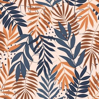 Trend naadloos patroon met tropische bladeren en heldere kleuren