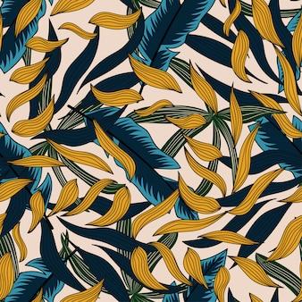 Trend naadloos patroon met tropische bladeren en planten