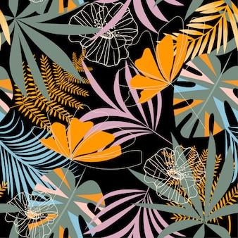 Trend naadloos tropisch patroon met heldere bladeren, bloemen en planten