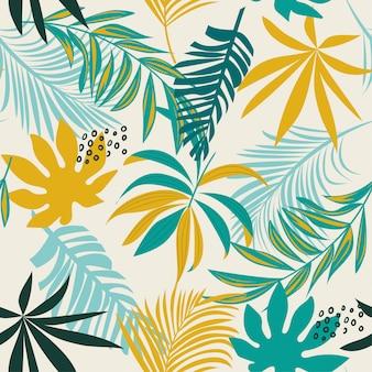 Trend naadloos tropisch patroon met kleurrijke bladeren en planten