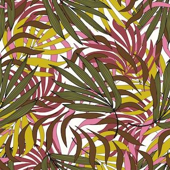 Trend naadloos tropisch patroon met planten en bladeren in geel en groen