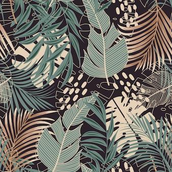 Trending abstract naadloos patroon met kleurrijke tropische bladeren en planten op dark