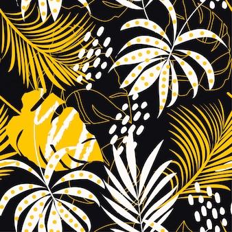 Trending abstract naadloos patroon met kleurrijke tropische bladeren en planten op zwarte achtergrond