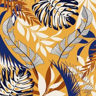 Trending abstracte achtergrond met heldere tropische bladeren en planten op geel