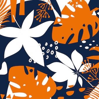 Trending heldere abstracte achtergrond met kleurrijke tropische bladeren en planten