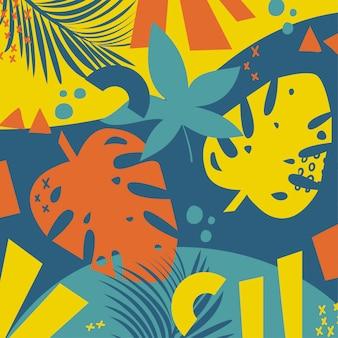 Trending heldere abstracte kleurrijke tropische bladeren en planten