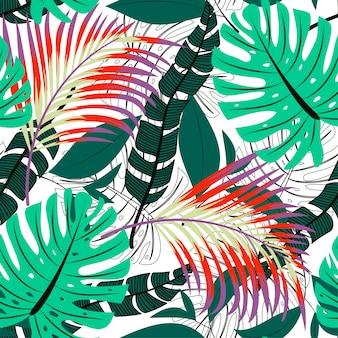 Trending heldere naadloze patroon met kleurrijke tropische bladeren en planten
