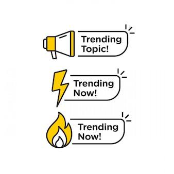 Trending onderwerp vector logo pictogram of symbool set met zwarte gele lijnelement geschikt voor sociale media en web communiceren. emblemen en banners vector set geïsoleerd op een witte achtergrond