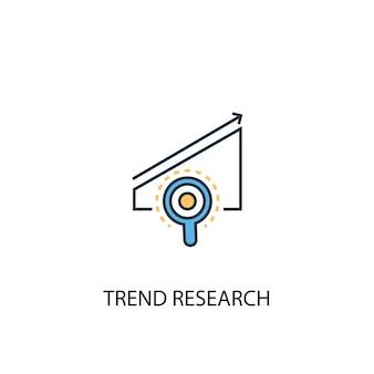 Trendonderzoek concept 2 gekleurde lijn icoon. eenvoudige gele en blauwe elementenillustratie. trend onderzoek concept schets symbool ontwerp