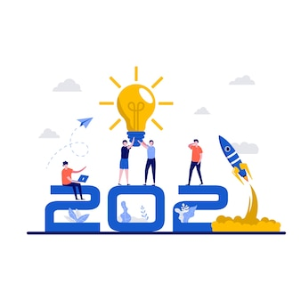 Trends in creativiteit, creatief denkconcept met groot aantal.