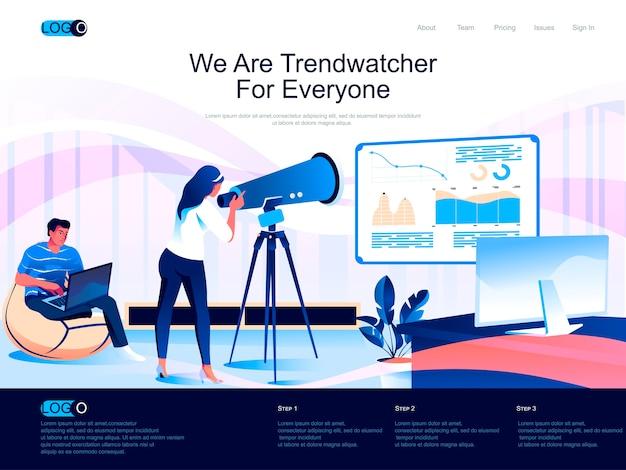 Trendwatcher isometrische bestemmingspagina met vlakke karaktersituatie