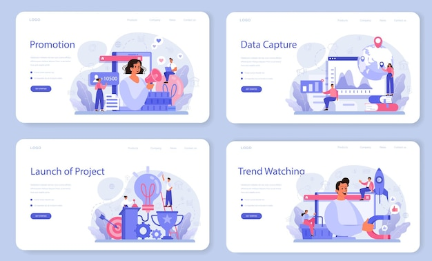 Trendwatcher weblay-out of bestemmingspagina-set. specialist in het volgen van de opkomst van nieuwe zakelijke trends. trendanalyse en projectpromotie.