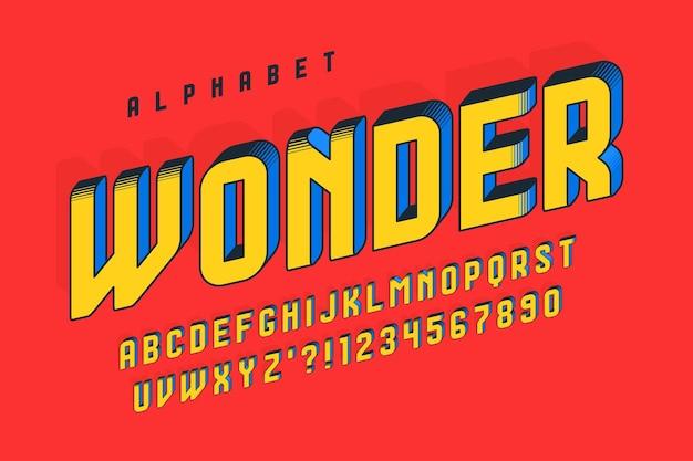 Trendy 3d-komisch ontwerp, kleurrijk alfabet, lettertype. kleurstalen controle. scheef 13 graden.