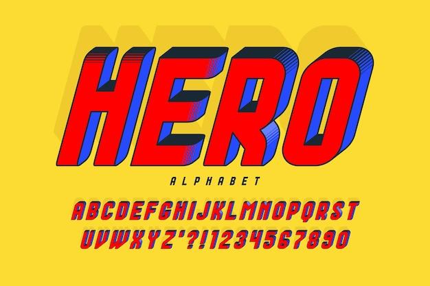 Trendy 3d-komisch ontwerp, kleurrijk alfabet, lettertype. kleurstalen controle. scheef 15 graden.