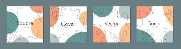 Trendy abstract vierkant sjabloon met kleurrijk concept. post op sociale media