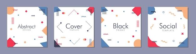 Trendy abstract vierkant sjabloon met kleurrijk concept voor post op sociale media.
