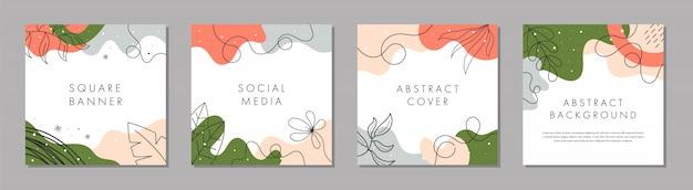 Trendy abstract vierkant sjabloon met kleurrijke concept