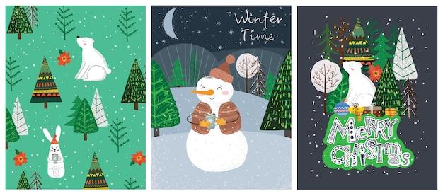 Trendy abstracte illustraties van kerstkaarten van vrolijk kerstfeest