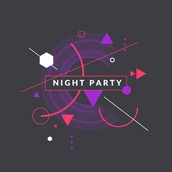 Trendy abstracte kunst geometrische achtergrond met platte, minimalistische stijl. vector nacht feest poster