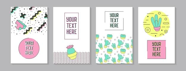 Trendy abstracte posters in memphis stijl met geometrische vormen en cactus. minimalistische elementen patronen, banners, uitnodigingen. vector illustratie Premium Vector