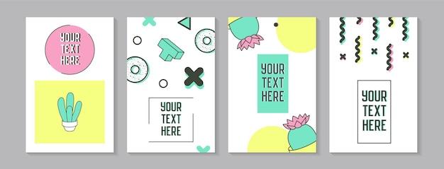 Trendy abstracte posters in memphis stijl met geometrische vormen en cactus. minimalistische elementen patronen, banners, uitnodigingen. vector illustratie