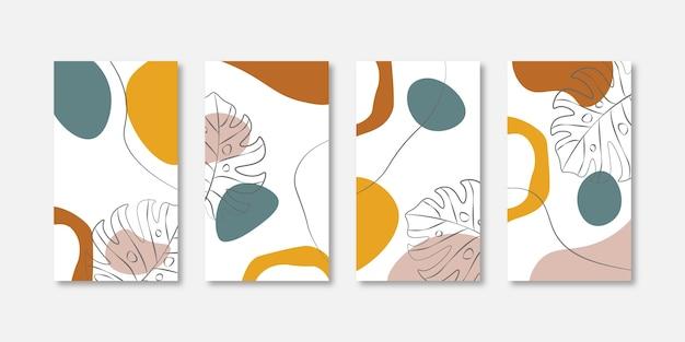 Trendy abstracte universele sjabloon met natuurconcept voor instagram- en facebookverhalen
