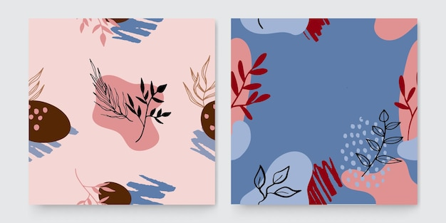 Trendy abstracte vierkante kunstsjablonen met bloemen en geometrische elementen. geschikt voor posts op sociale media, mobiele apps, bannerontwerp en web- of internetadvertenties. mode achtergronden