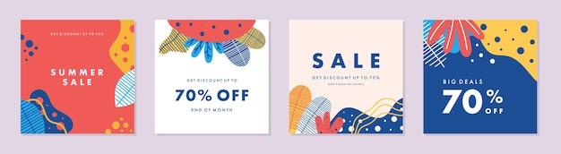 Trendy abstracte vierkante sjabloon met kleurrijk concept social media-promotie