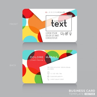Trendy adreskaartje ontwerp sjabloon met kleurrijke cirkels achtergrond
