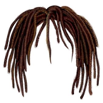 Trendy afrikaanse dreadlocks met lang haar. realistisch. mode schoonheid stijl. kapsel pruik