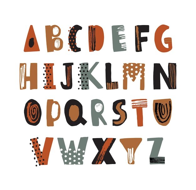 Trendy alfabet lettertype