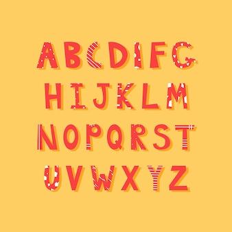 Trendy alfabet met heldere letters in vlakke stijl